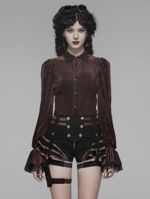 Brown Vintage Gothic Velvet Long Sleeve Shirt for Women