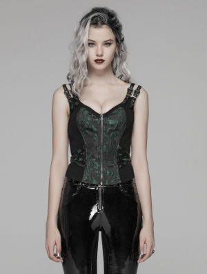 Green Gothic Steampunk Jacquard Corset Top for Women
