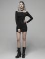 Black Gothic Punk Sexy Long Sleeve Mini Dress