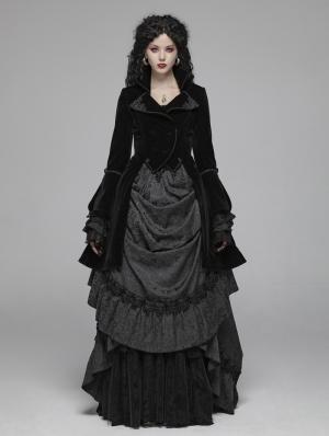 Black Vintage Gothic Palace Style Velvet Long Coat for Women