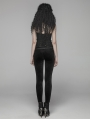 Black Gothic Velvet Steampunk Legging Pants for Women