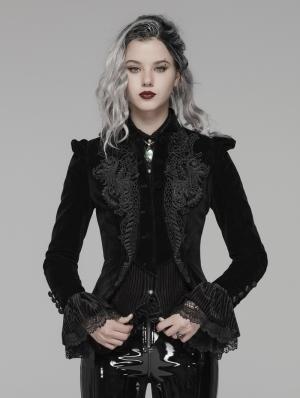 Black Vintage Gothic Lace Velvet Short Coat for Women