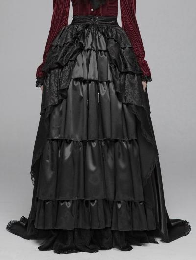 Black Vintage Gothic Palace Long Skirt