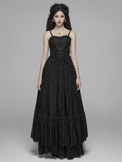 Black Gothic Long Lace Party Dress