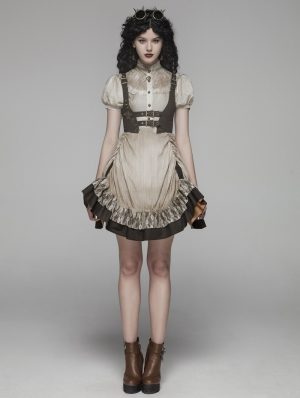Ivory Steampunk Short Dress