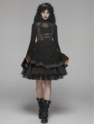 Black Steampunk Short Dress