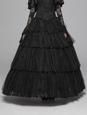Black Gothic Long Tiered Lace Skirt
