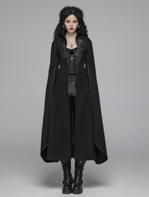 Black Morticia Addams Gothic Woolen Long Coat for Women