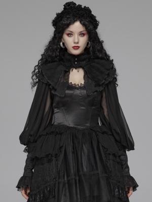 Black Gothic Lolita Big Puff Sleeve Cape for Women