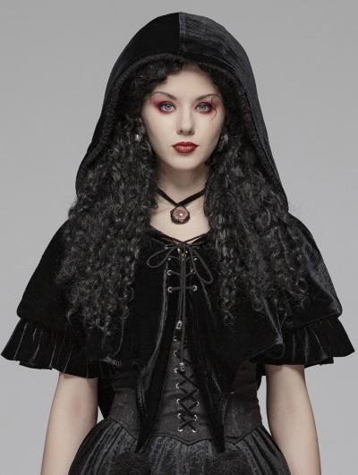 Black Gothic Lolita Velvet Short Hooded Cape for Women