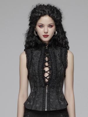 Black Sexy Gothic Jacquard Waistcoat for Women
