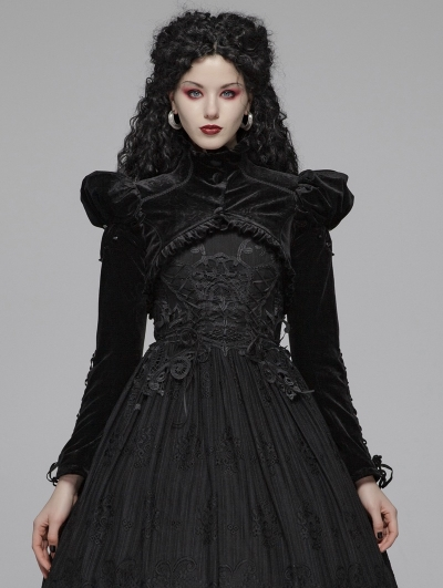 Black Vintage Gothic Bubble Long Sleeve Short Jacket Cape for Women