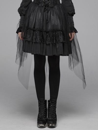 Black Gothic Lolita Butterfly Mesh Half Skirt for Women