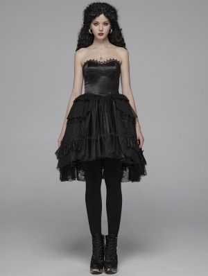 Black Sweet Gothic Lolita Irregular Lace Short Dress