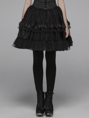 Black Gothic Lolita Short Puffy Skirt for Women