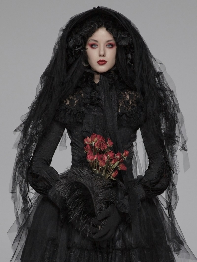 Black Gothic Lolita Dark Hat Headdress
