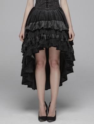 Black Gothic Velvet High-Low Skirt for Women