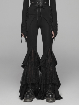 Black Gothic Lace Big Pendulum Trousers for Women