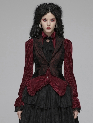 Red and Black Vintage Gothic Tuxedo Vest for Women