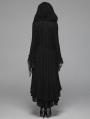 Black Gothic Woolen Long Hooded Cardigan for Women