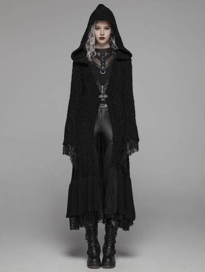Black Gothic Thick Woolen Long Hooded Cardigan for Women