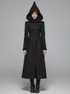 Black Gothic Witch Long Woolen Hooded Coat for Women