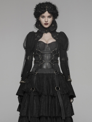 Black Gothic Steampunk Short Harness Jacket for Women