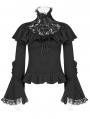 Black Gothic Lolita Lace Turtleneck T-Shirt for Women