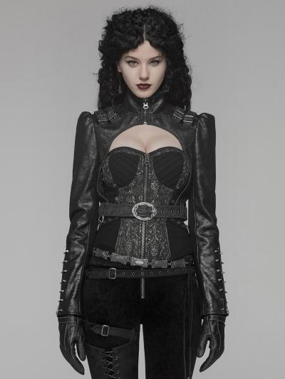 Black Gothic Steampunk Rivet Short Jacket for Women