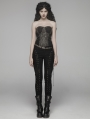 Black Gothic Rope Slim Pants for Women