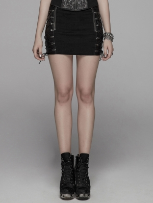 Black Gothic Punk Metal Mini Skirt for Women