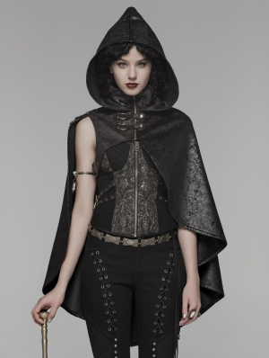 Black Gothic Steampunk Hooded Short Cloak for Women