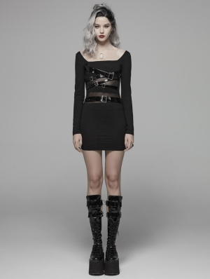 Black Gothic Punk PU Leather Loop Slimming Dress