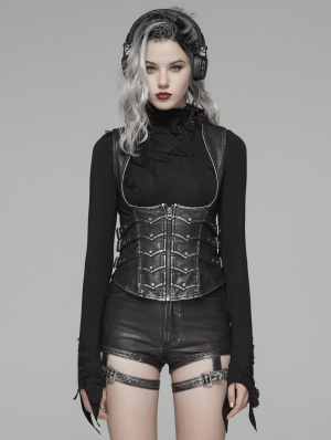 Black Gothic Punk Metal PU Waistcoat for Women