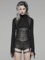 Black Gothic Punk Metal PU Waistcoat for Women