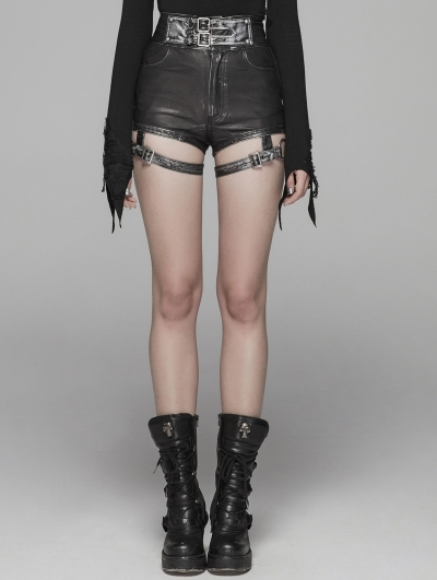 Black Fashion Gothic Punk PU Leather Shorts for Women
