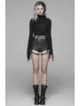 Black Fashion Gothic Punk PU Leather Shorts for Women