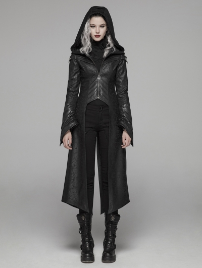 Black Gothic Punk Long Hooded Jacket for Women