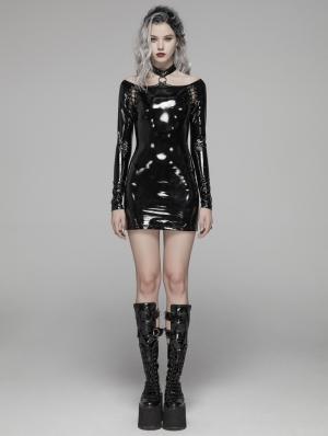 Black Fashion Gothic Punk Latex Nightclub Mini Dress