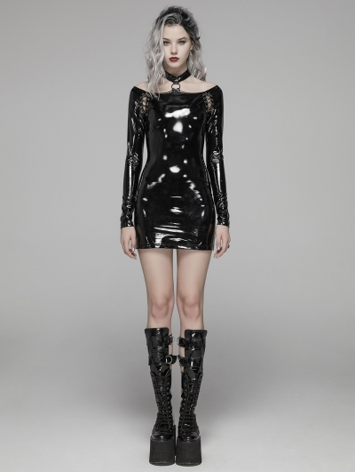 Black Fashion Gothic Punk Latex Nightclub Mini Dress