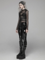 Black Gothic Punk Latex Slim Pants for Women