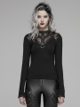 Black Gothic Hollow-out Metal T-Shirt for Women
