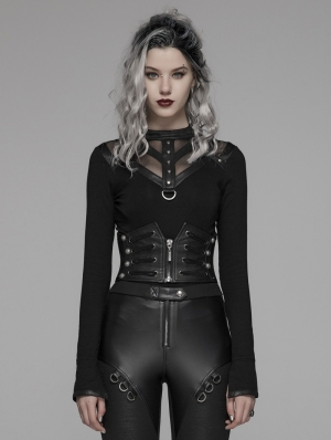 Black Gothic Punk Handsome Waistband for Women