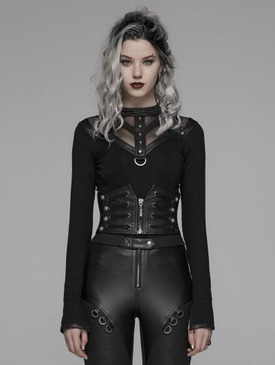 Black Gothic Punk Handsome Waistband for Women