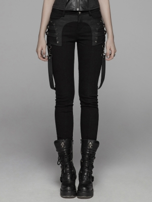 Black Gothic Punk Removable Belt Long Pants for Women