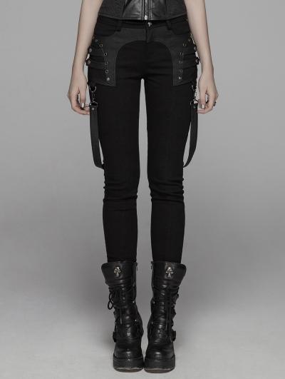 Black Gothic Punk Removable Belt Long Pants for Women