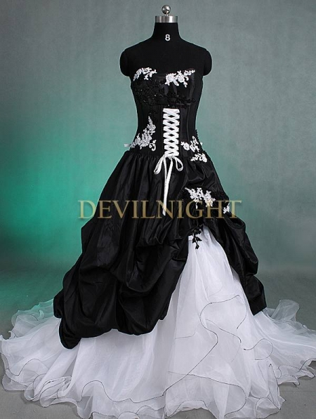 Gothic Wedding Dresses Black And White - Overlay Wedding Dresses