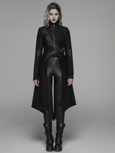 Black Gothic Punk Military Long Hooded Jacket for Women