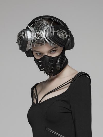 Black Gothic Punk Dark Rivet Mask for Women
