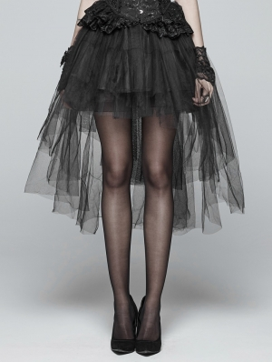 Black Gothic Tulle High-Low Skirt